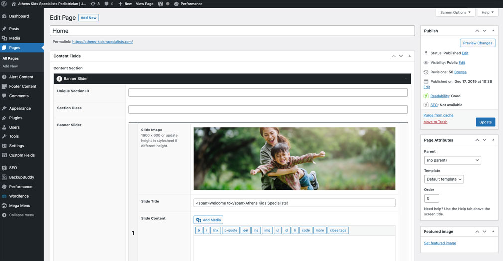 WordPress admin panel showing the plant database entry area.