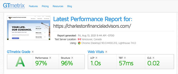 Website speed test after optimization.
