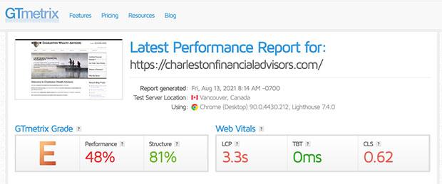 Website speed test before optimization.